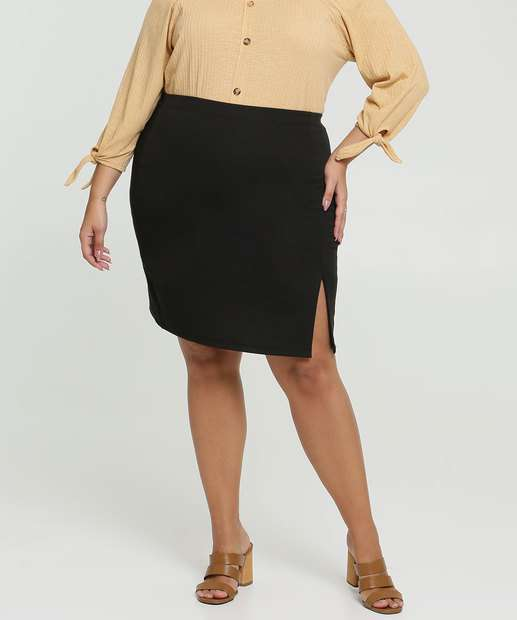 Image_Saia Feminina Textura Fenda Plus Size