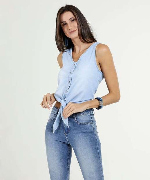Image_Blusa Feminina Cropped Jeans Sem Manga Marisa