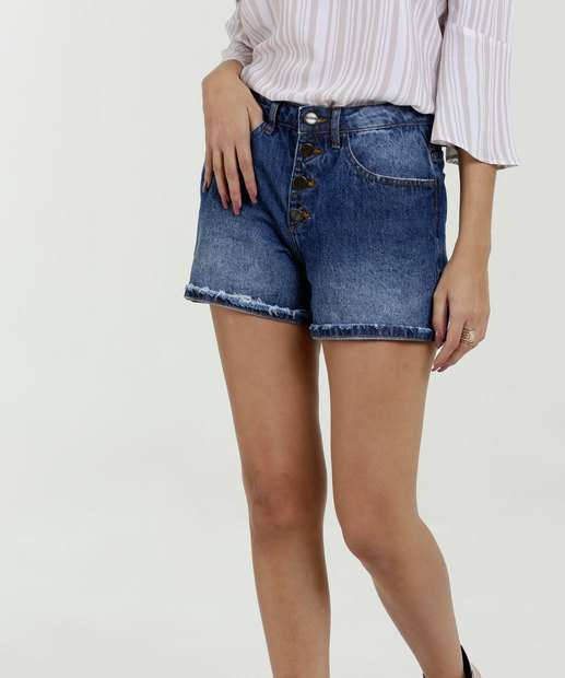 Image_Short Feminino Jeans Bolsos Cintura Média Marisa