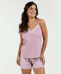 441428a9f Pijama Feminino Short Doll Laise Estampado Marisa