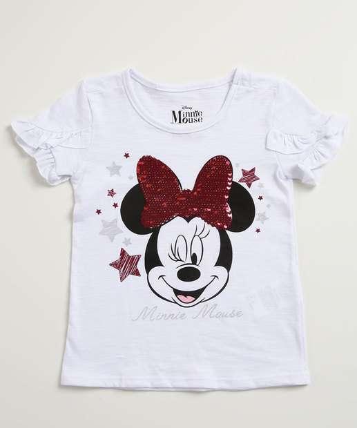 0c37a0aa0 Blusa Infantil Estampa Minnie Paetê Manga Curta Disney