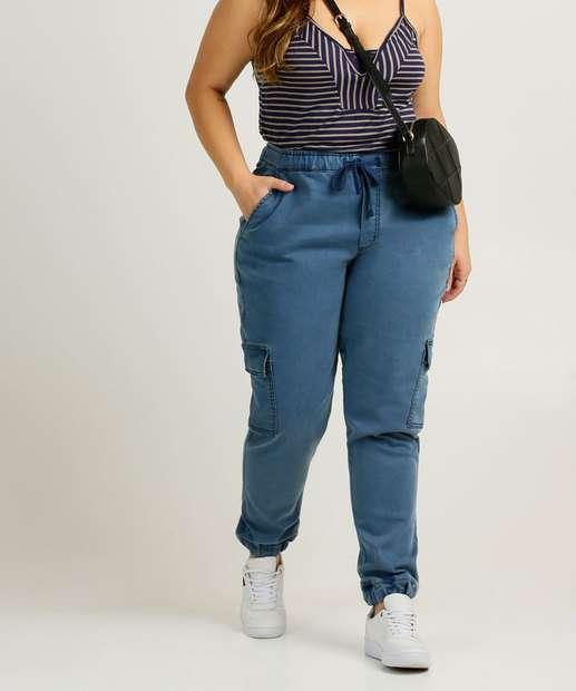 Image_Calça Plus Size Feminina Jeans Jogger Cargo