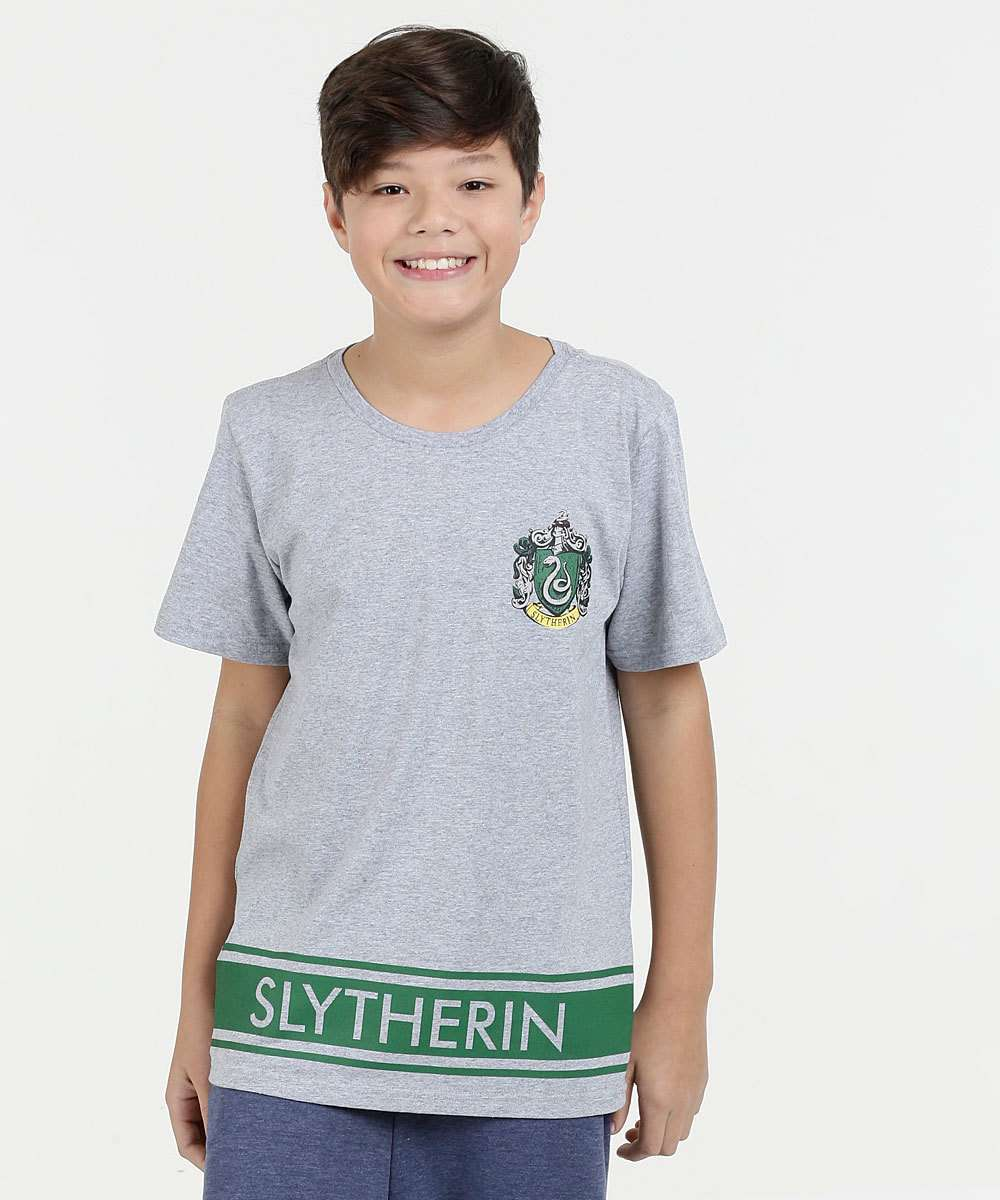 Camiseta Juvenil Estampa Harry Potter Manga Curta Warner