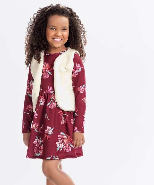 Image_Conjunto Infantil Vestido Colete Estampa Floral