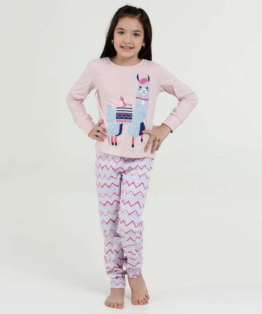 Image_Pijama Infantil Estampa Lhama Manga Longa Marisa