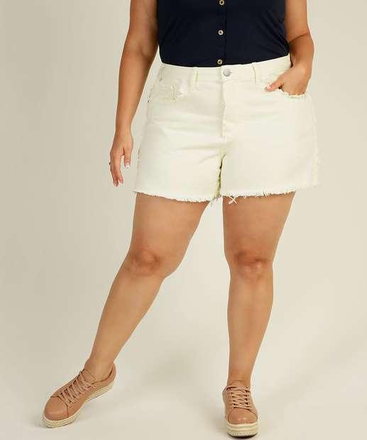 Image_Short Plus Size Feminino Jeans Cintura Alta Bolsos