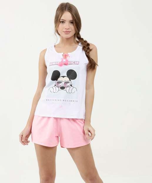 Image_Pijama Feminino Estampa Mickey Glitter Sem Manga Disney