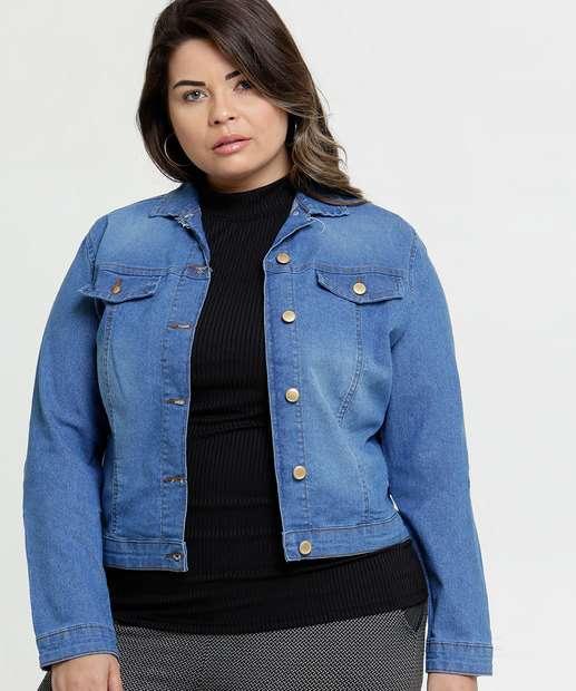 Image_Jaqueta Feminina Jeans Botões Plus Size
