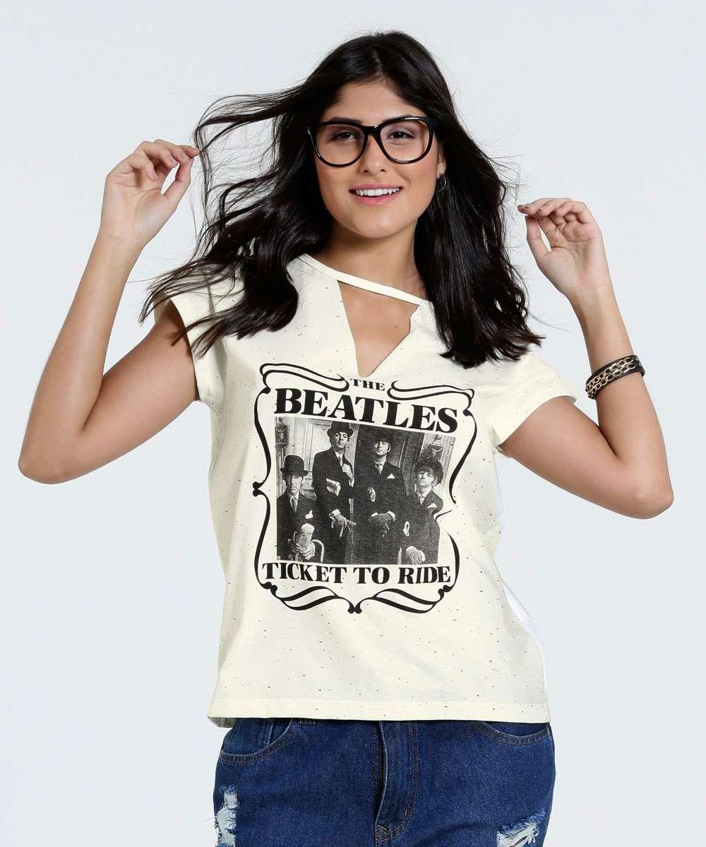 d91e1db22 Menor preço em Blusa Feminina Choker Estampa The Beatles Marisa