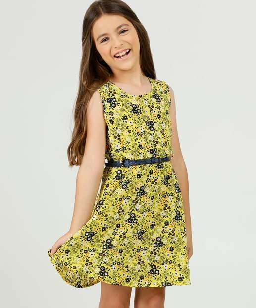 Image_Vestido Infantil Sem Manga Estampa Floral Marisa Tam 4 a 10