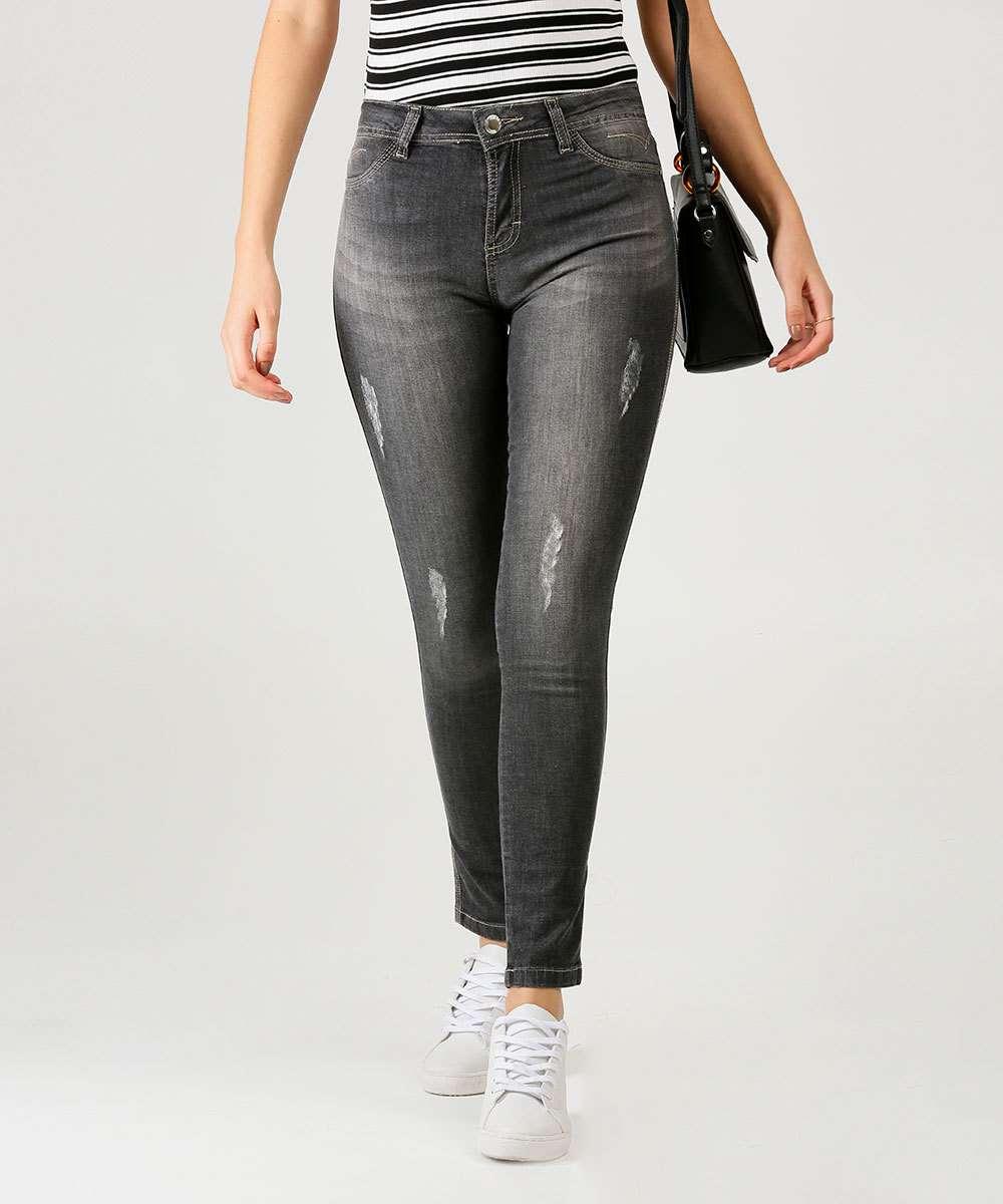 Calça Jeans Skinny Feminina Puídos