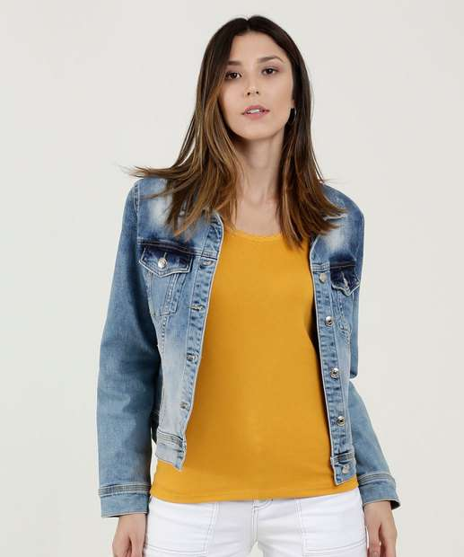Image_Jaqueta Feminina Jeans Stretch Estampada Disparate