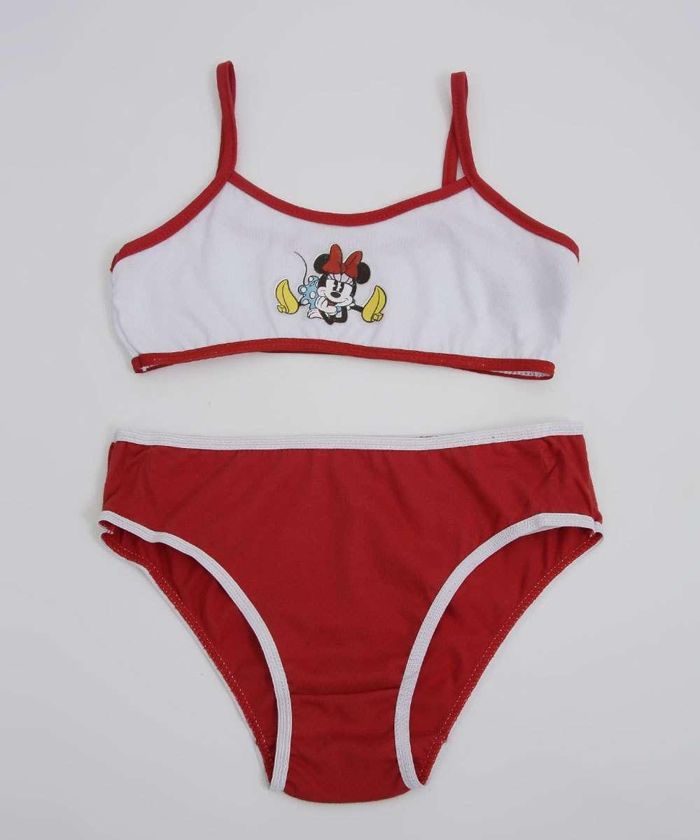Kit Sutiã e Calcinha Infantil Minnie Disney Tam 8 a 10