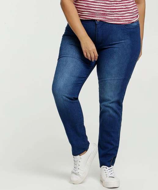Image_Calça Jeans Skinny Feminina Barra Zíper Plus Size