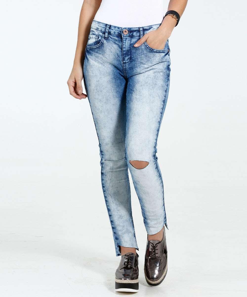 92004a324 Calça Feminina Cigarrete Jeans Rasgos Marisa | Marisa