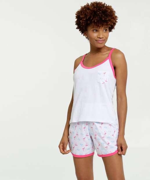 Image_Pijama Feminino Estampa Flamingo Alças Finas