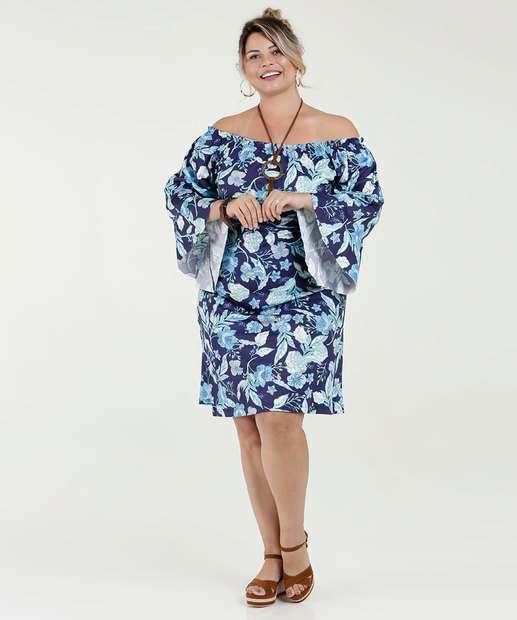 e86c5b46b9 Image Vestido Feminino Ombro a Ombro Estampa Floral Plus Size Luktal