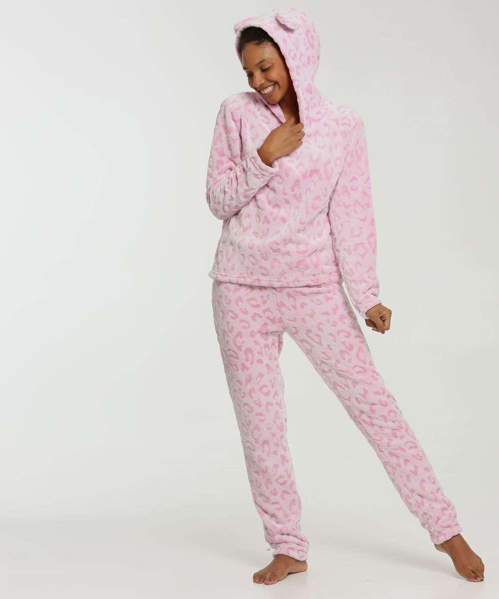 Pijama Feminino Plush Animal Print Capuz Marisa