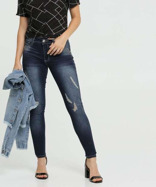 Image_Calça Jeans Destroyed Skinny Feminina Pedraria Biotipo