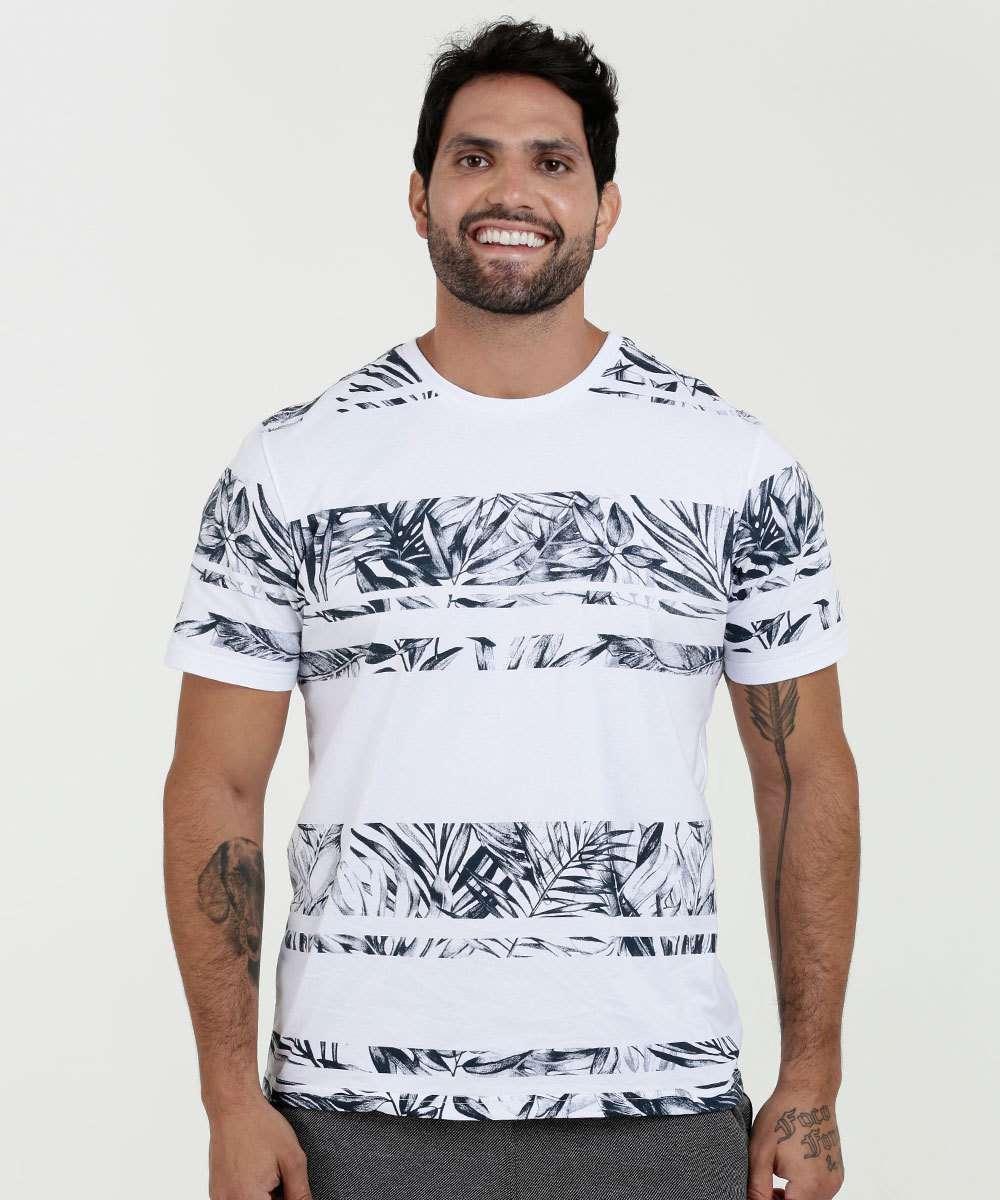 38312282f3 Camiseta Masculina Estampa Frontal Manga Curta Marisa