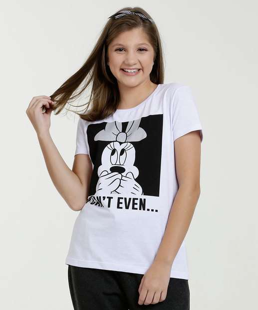 Image_Blusa Juvenil Estampa Minnie Glitter Manga Curta Disney