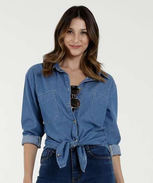 799a73abb Camisa Feminina Jeans Manga Longa Marisa