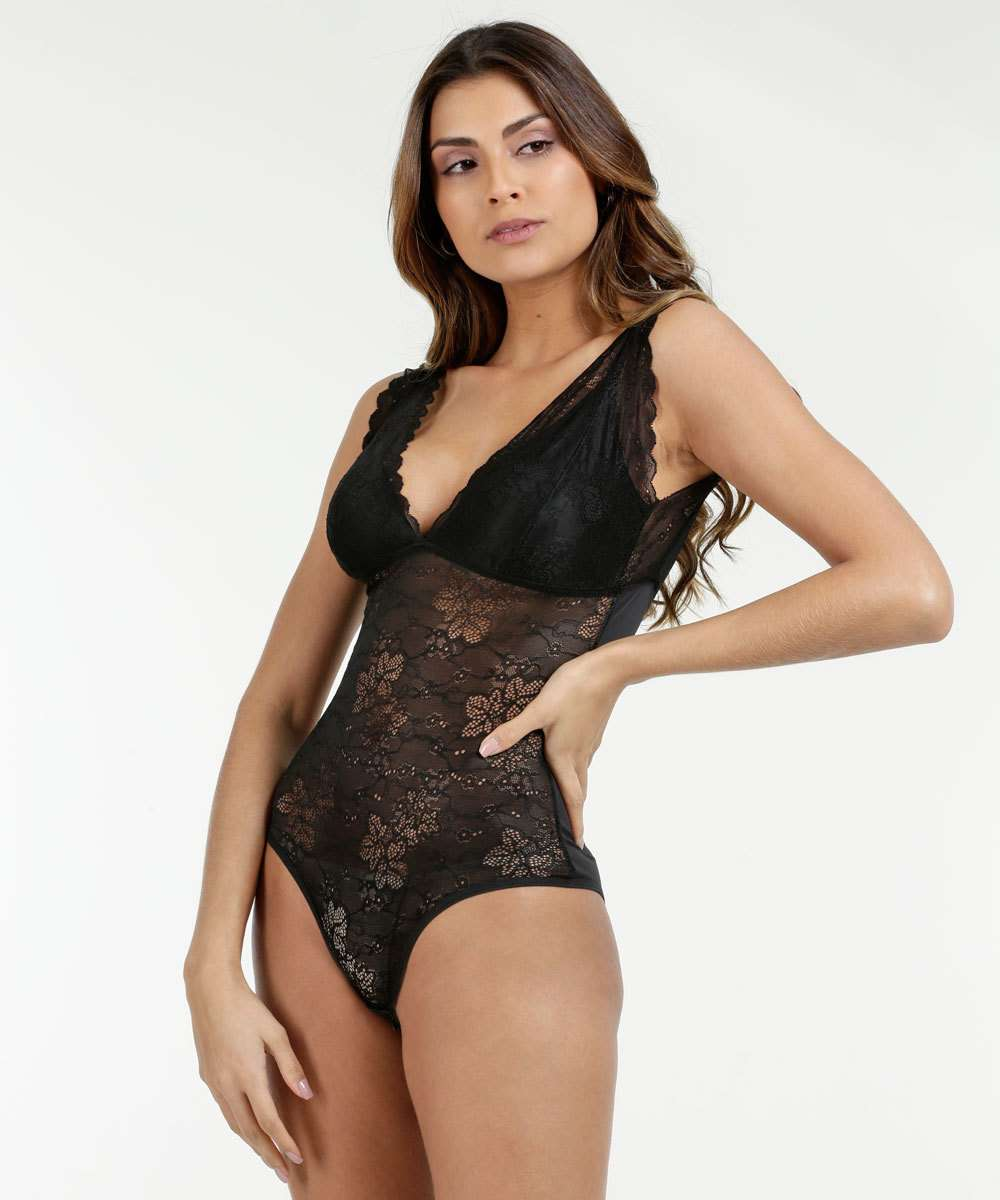 Body Feminino Sensual Renda Lucitex