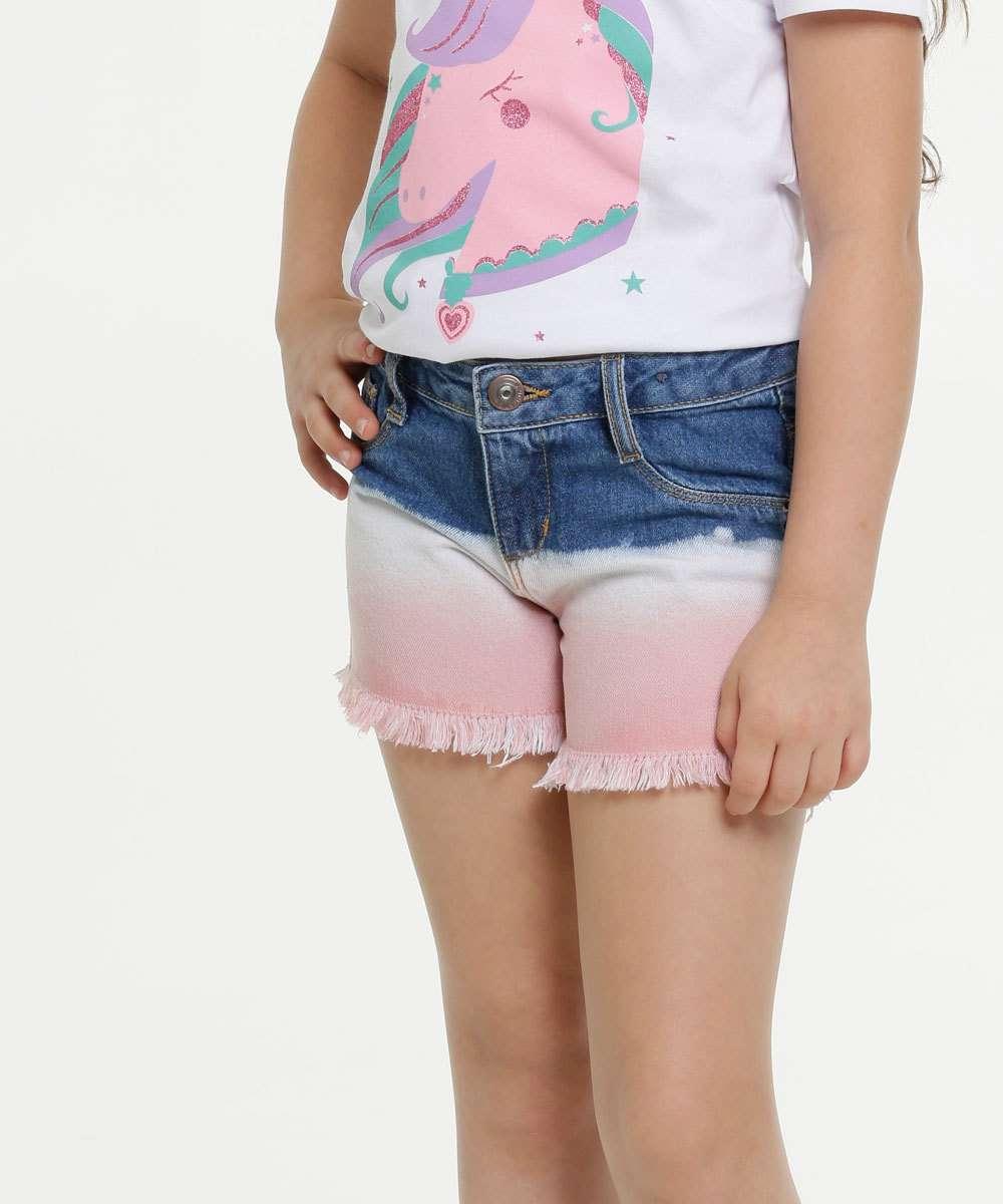 Short Infantil Jeans Tie Dye Barra Desfiada Marisa