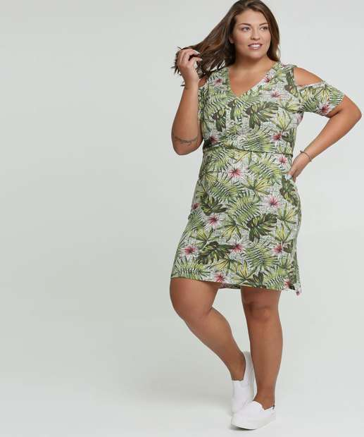 Image_Vestido Feminino Open Shoulder Tropical Plus Size