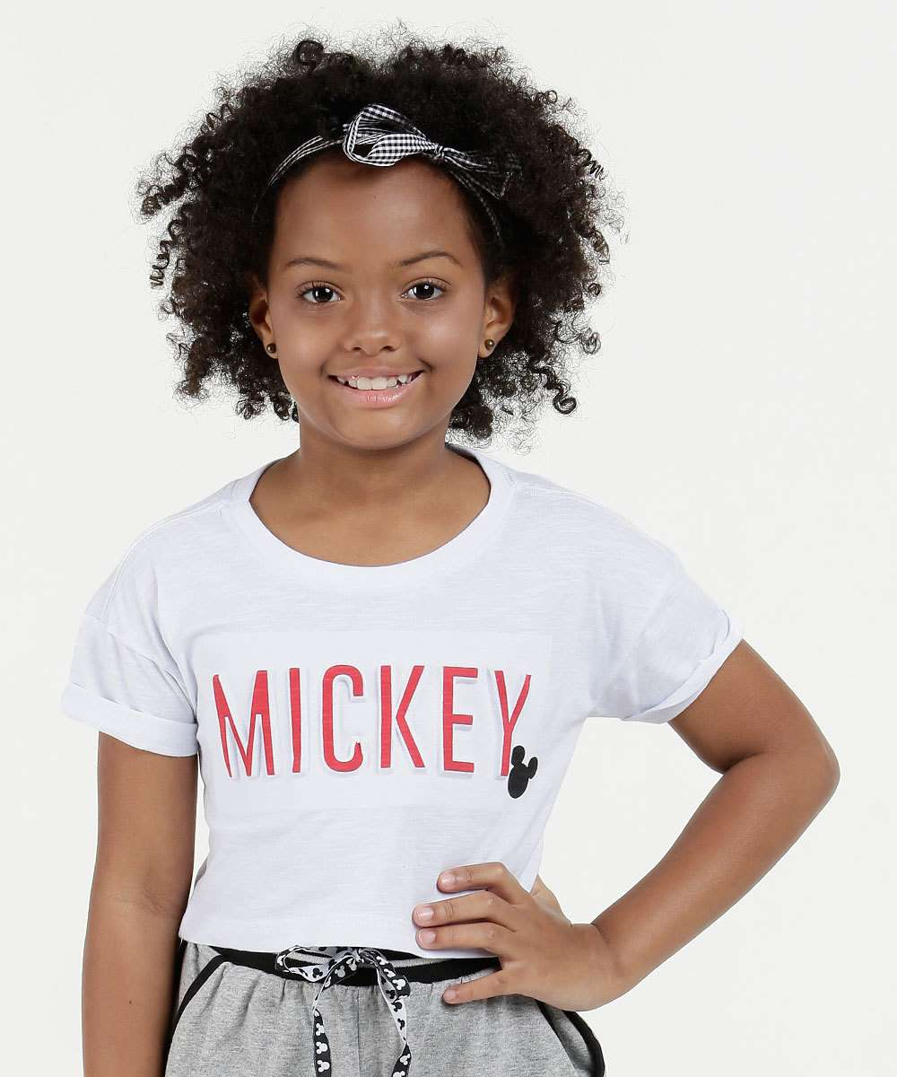 Blusa Infantil Cropped Estampa Mickey Manga Curta Disney