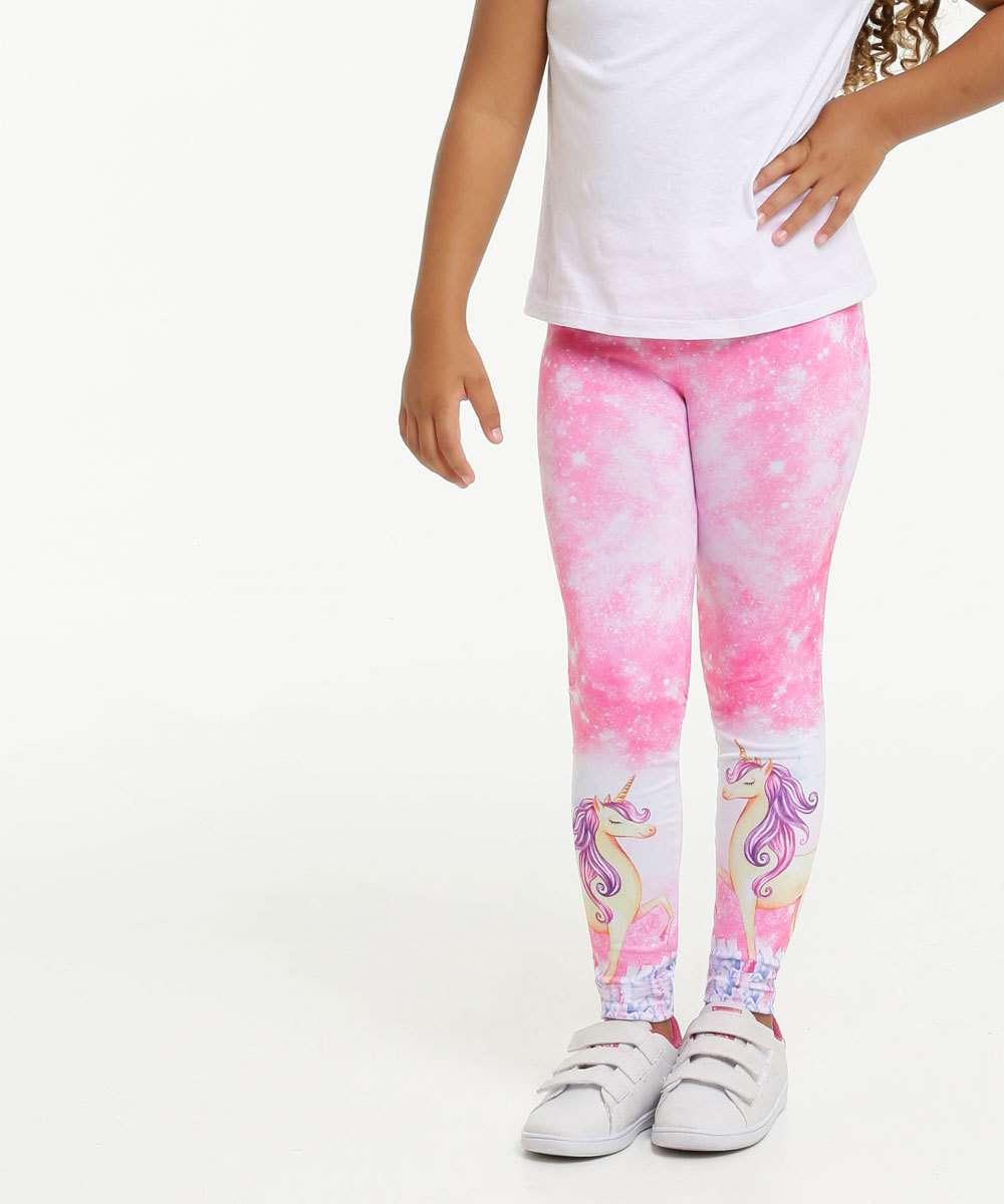Calça Infantil Legging Unicórnio Marisa Tam 4 a 10