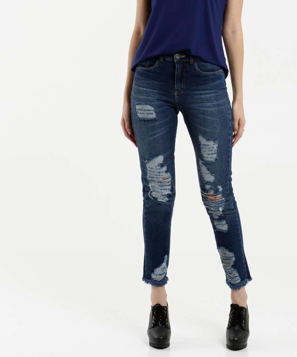 Calça Feminina Jeans Capri Destroyed Razon