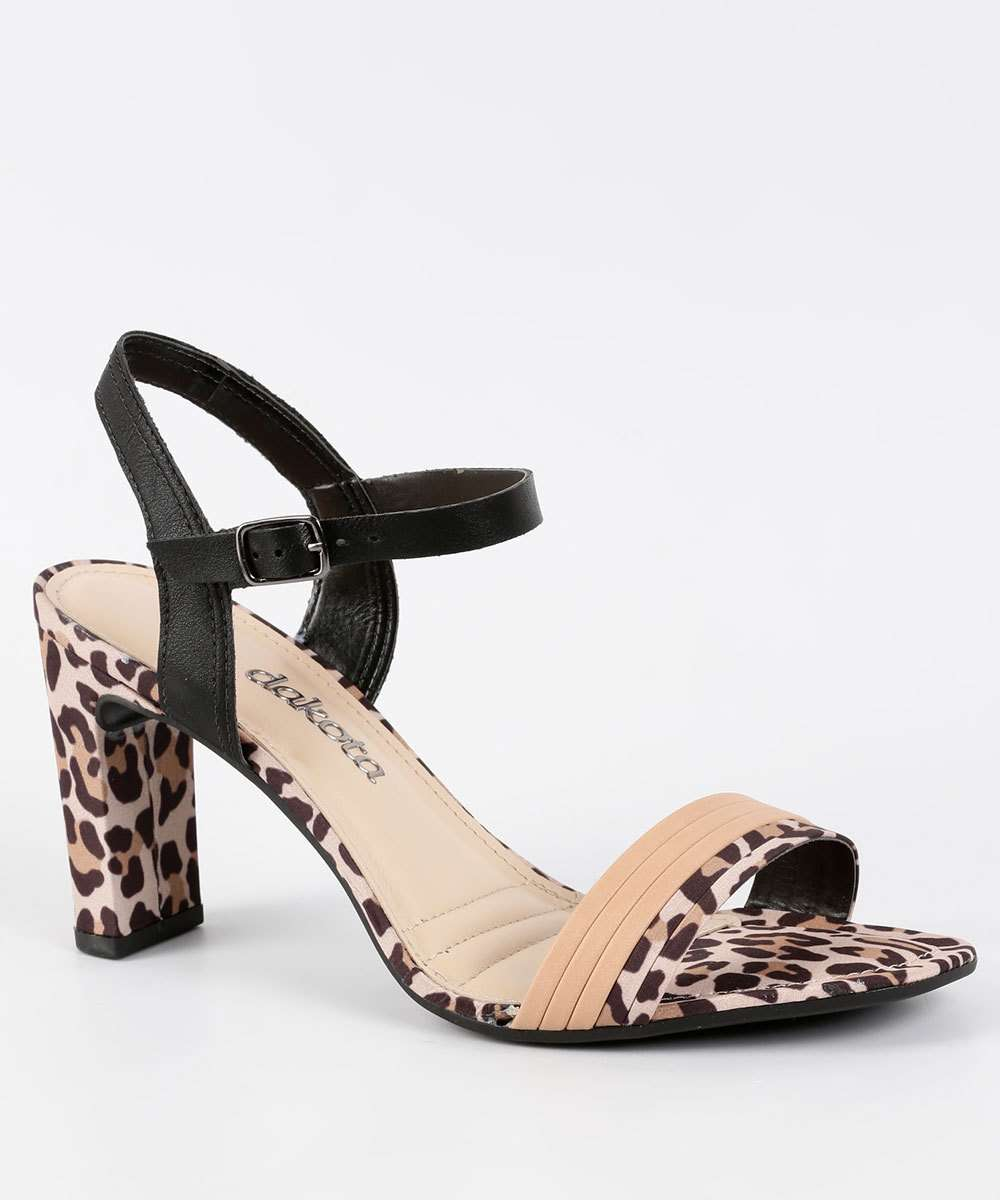 Sandália Feminina Animal Print Salto Grosso Dakota