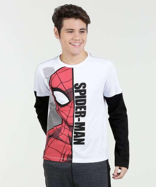 Image_Camiseta Juvenil Homem Aranha Sobreposição Marvel