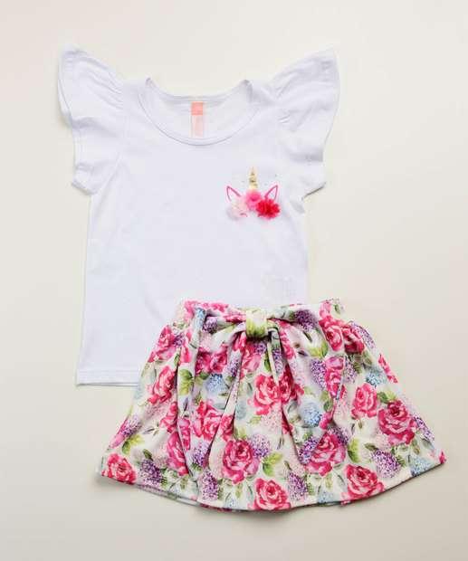 Image_Conjunto Infantil Unicórnio Estampa Floral Tam 4 a 10