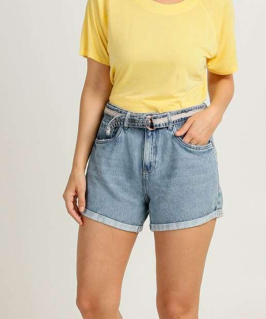 Image_Short Feminino Jeans Cinto Cintura Alta Marisa