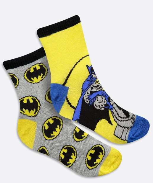 Image_Kit 2 Meias Infantil Soquete Estampa Batman Liga da Justiça