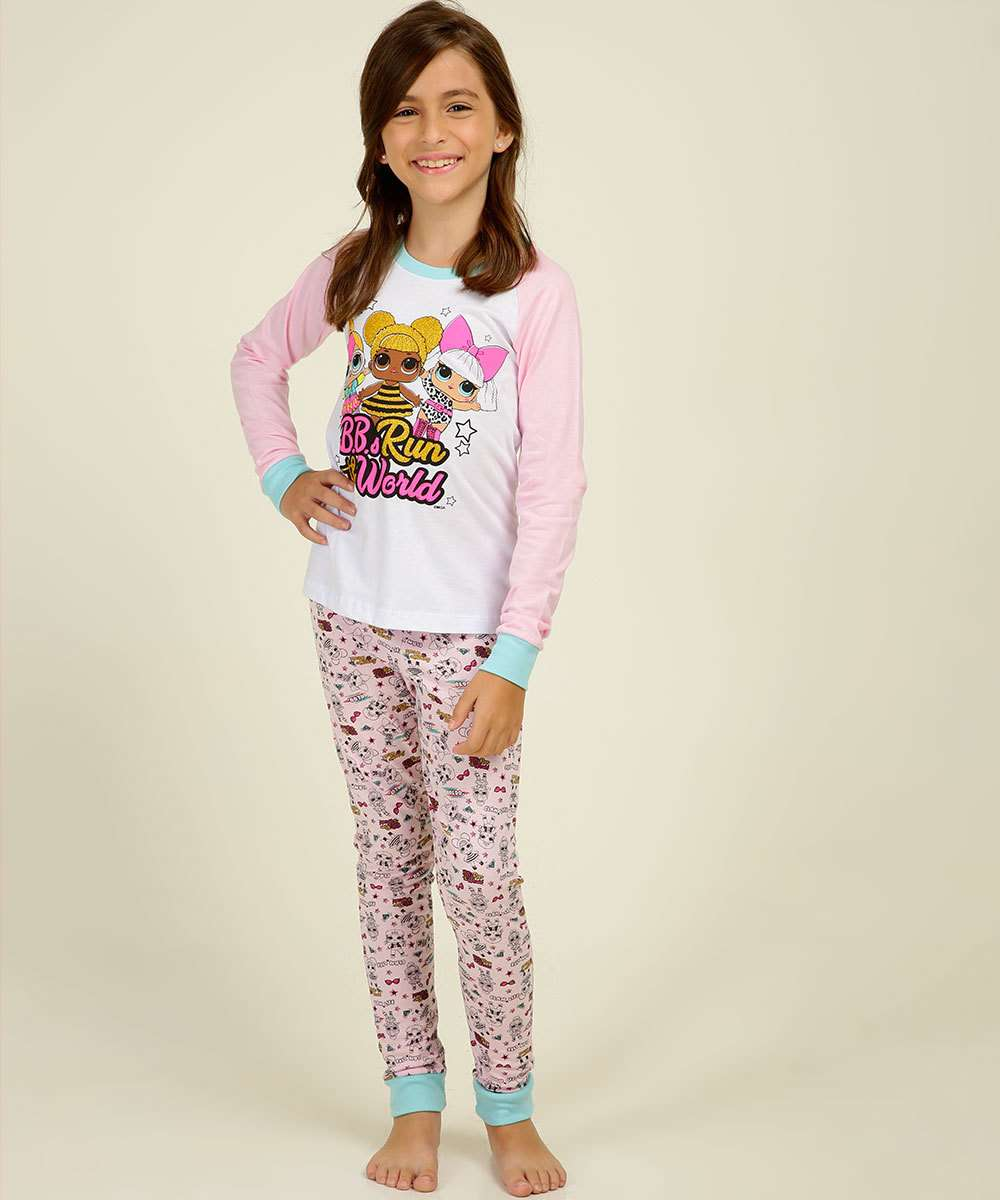 Pijama Infantil Manga Longa Estampa Boneca LOL Tam 4 a10
