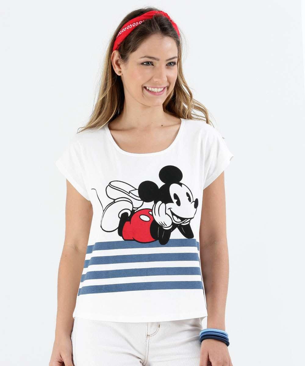 Blusa Feminina Mickey Listrada Disney  3b4126aff2d7c