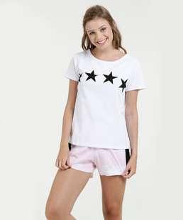 Pijama Feminino Estampa Estrelas Manga Curta Marisa
