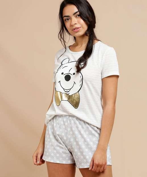 Image_Pijama Feminino Estampa Pooh Manga Curta Disney