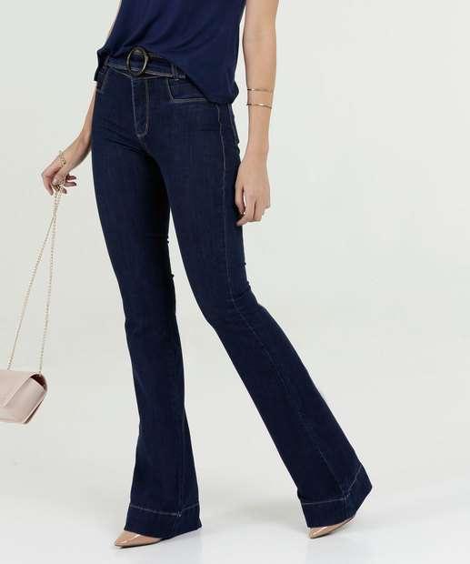 e183a89af Calça Feminina Jeans Flare Cinto Cintura Média Sawary