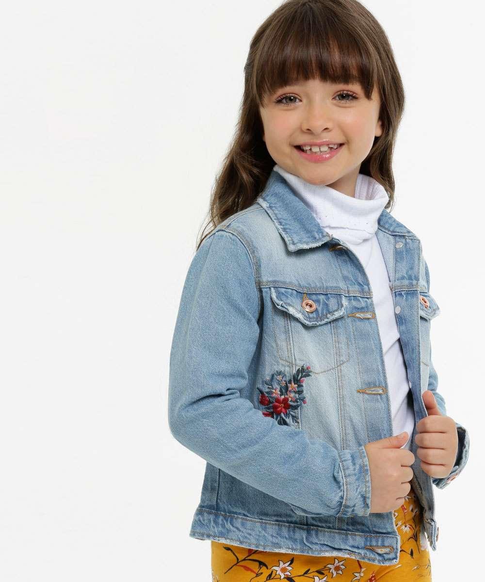 Jaqueta Infantil Jeans Bordado Floral Marisa