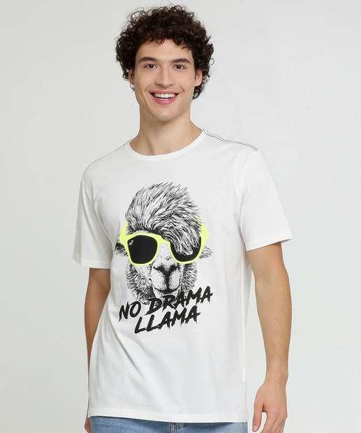 Image_Camiseta Masculina Estampa Lhama Manga Curta
