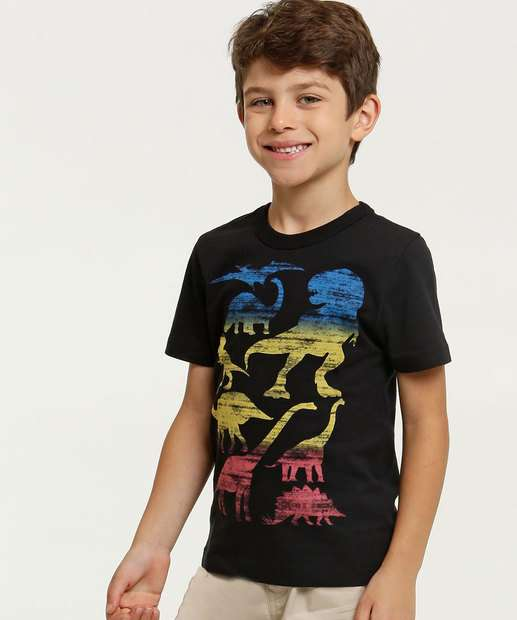 Image_Camiseta Infantil Estampa Dinossauros Manga Curta