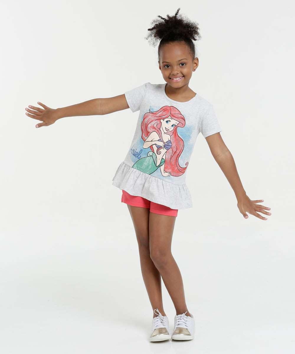 dc289ee6ef Conjunto Infantil Princesa Ariel Manga Curta Disney
