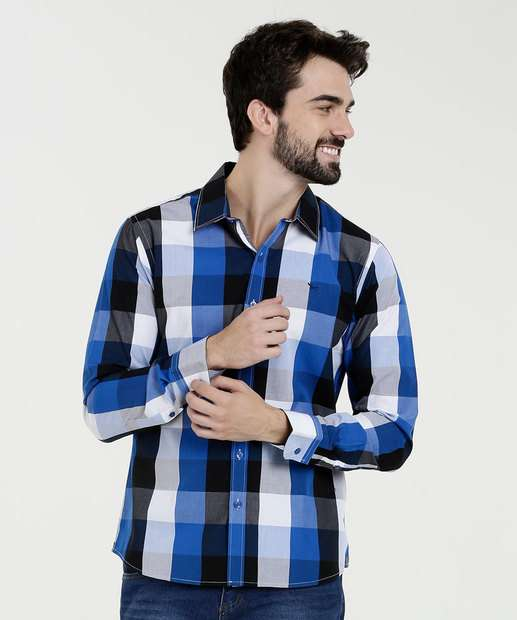 Image_Camisa Masculina Estampa Xadrez Manga Longa Yacht Master