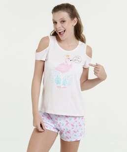 Pijama Feminina Short Doll Estampa Flamingo Marisa