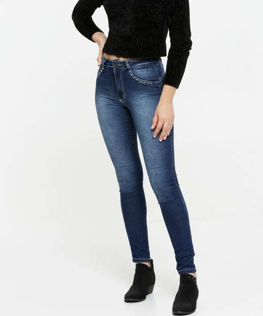 Image_Calça Jeans Skinny Feminina Tachas Biotipo