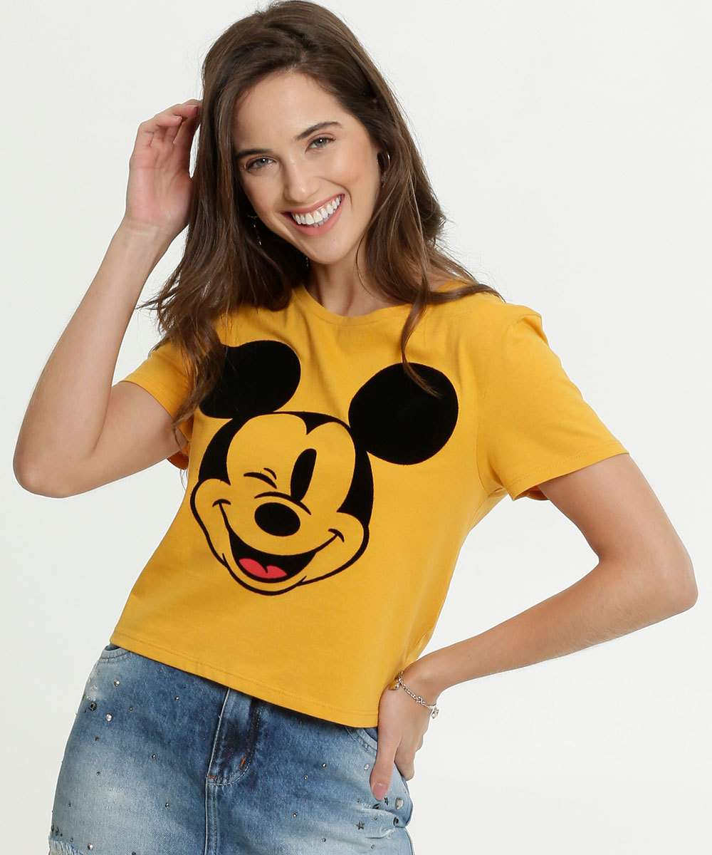 Blusa Feminina Cropped Estampa Mickey Manga Curta Disney